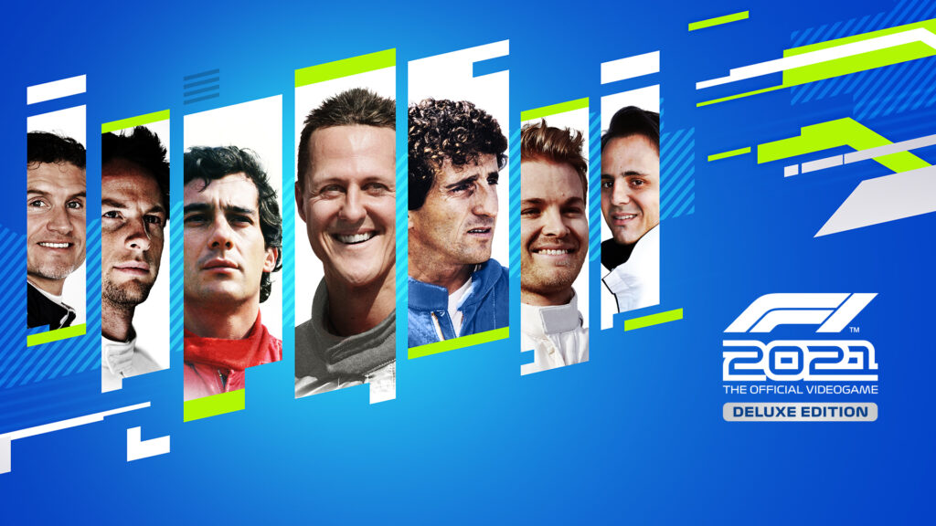 F1 2021 Deluxe Edition art featuring iconic F1 drivers (from left to right): • David Coulthard, Jenson Button, Ayrton Senna, Michael Schumacher, Alain Prost, Nico Rosberg, and Felipe Massa