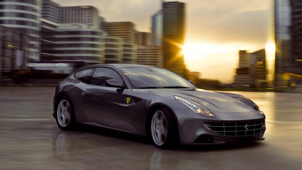 Silver Ferrari FF hatchback