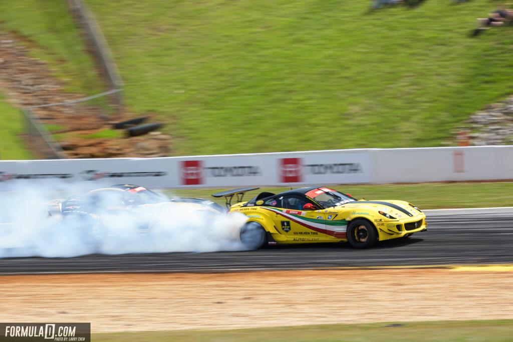 Federico Sceriffo piloting his Ferrari drift car