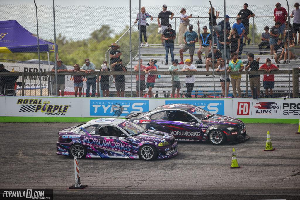 Formula Drift 2021 PROSPEC round 1 Orlando Florida. Nick Noback vs Blake Olsen