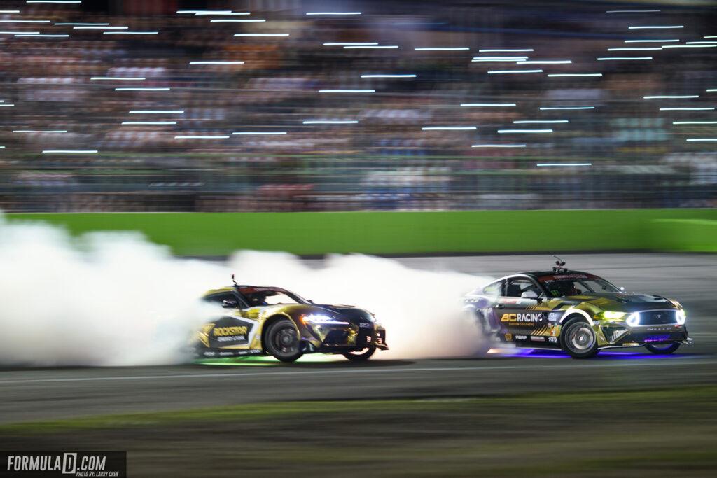 Formula Drift 2021 Round 2 Orlando, Florida. Fredric Aasbo vs Chelsea DeNofa