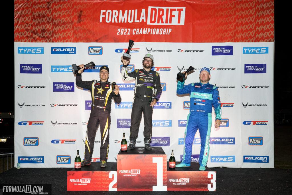 Formula Drift 2021 Round 2 Orlando, Florida. PRO series podium 1st place: Chelsea DeNofa, 2nd place: Fredric Aasbo, 3rd place: Justin Pawlak