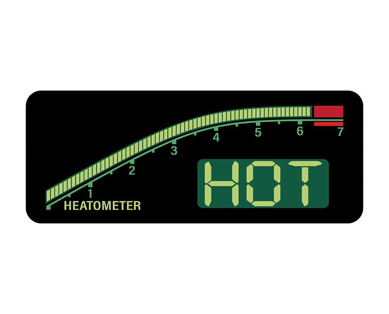 """Hot Hatch Hot Sauce """"Heatometer"""" for """"The Zonker"""" flavor."""