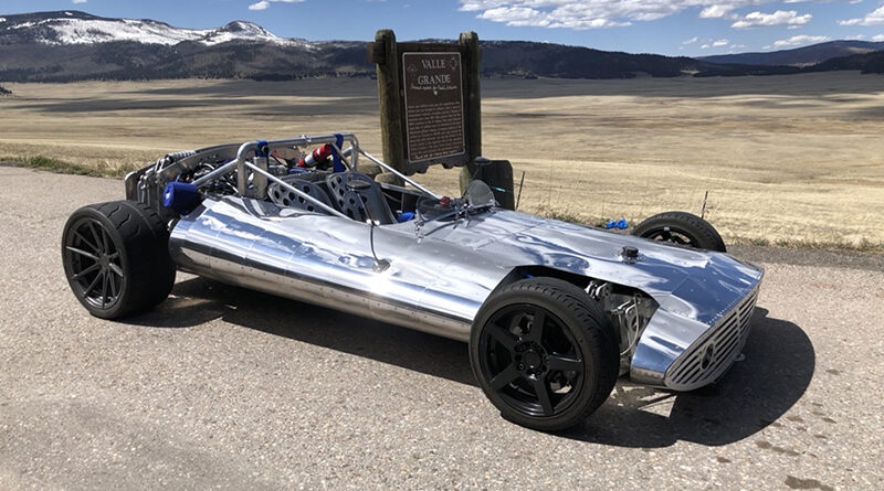 """Hot Wheels Legends Tour 2021 round 2 winner """"Lulu"""" built by Paul Kalenian of Santa Fe, New Mexico. Lulu is an all aluminum, monocoque chassis, hot rod with a rear-mounted turbocharged 4 cylinder engine."""