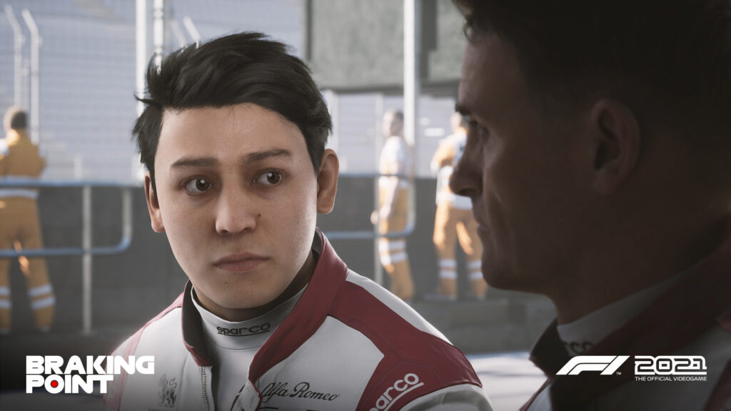 """the Aiden Jackson character as seen in Codemasters F1 2021 """"Braking Point"""" story mode"""