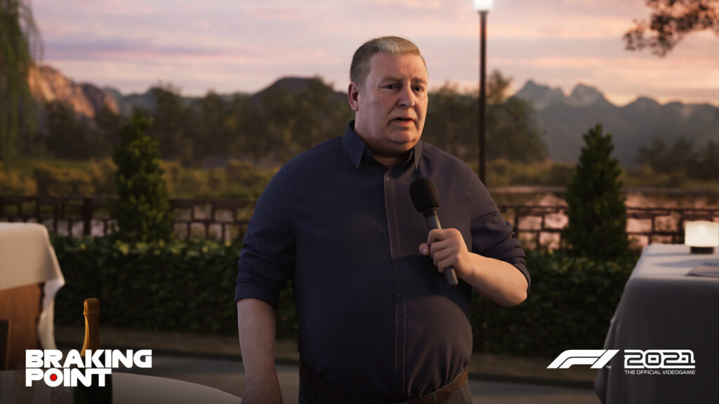 """the Brian Doyle character as seen in Codemasters F1 2021 """"Braking Point"""" story mode"""