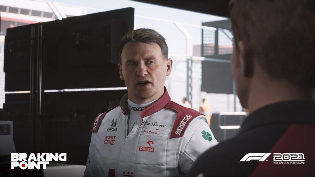 "the Cassper 'Cas' Akkerman character as seen in Codemasters F1 2021 ""Braking Point"" story mode"