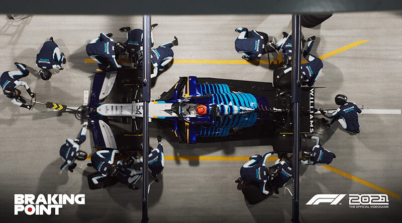Codemasters F1 2021 Braking Point story screenshot featuring Williams car in a pit stop