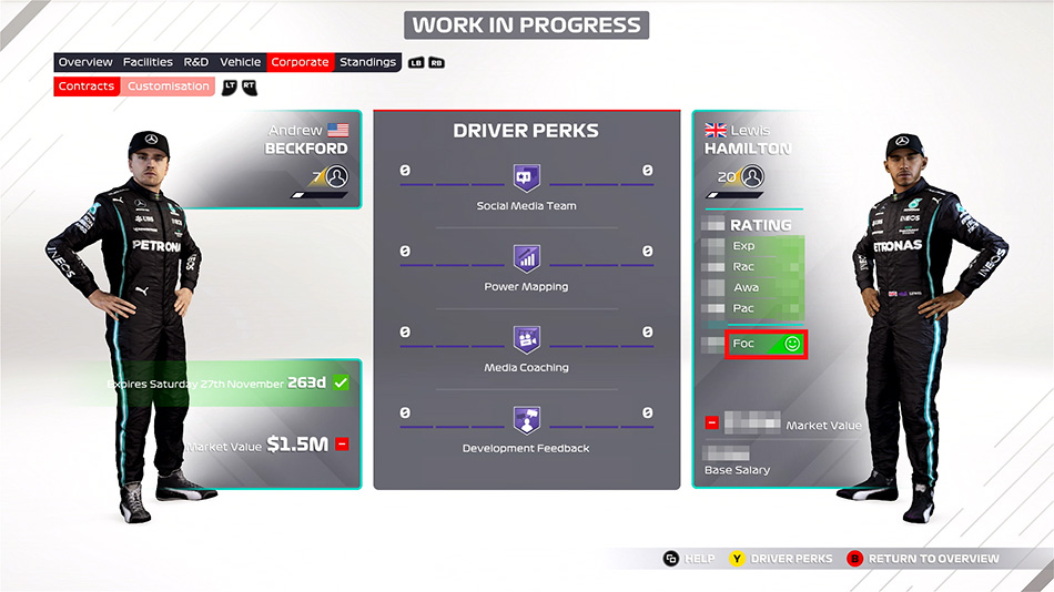 F1 2021 by Codemasters. New driver focus stats