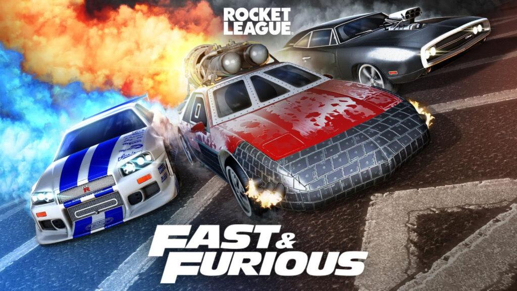 Rocket League Fast & Furious bundle promo image featuring the 2Fast 2Furious Skyline R34 (left), The Fast & Furious 9 rocket powered Pontiac Fiero (center), and The Fast And The Furious 1970 Dodge Charger (right).