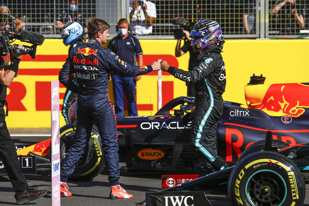 Lewis Hamilton shakes hands with Max Verstappen after the British GP sprint race. Photo provided by Daimler