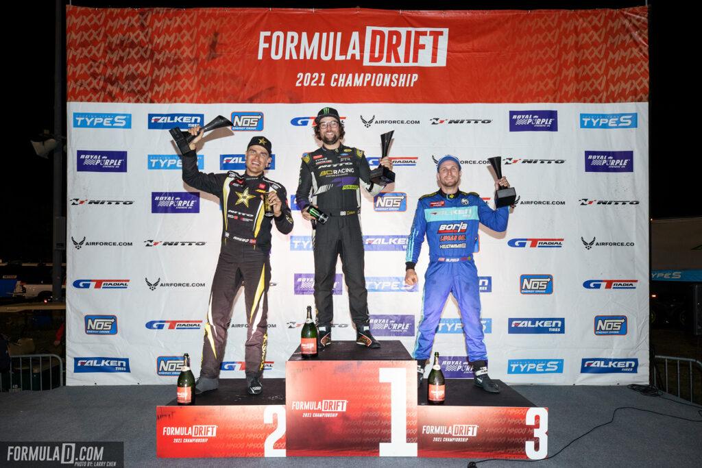 Formula Drift 2021 Round 4 podium. Photo by Larry Chen