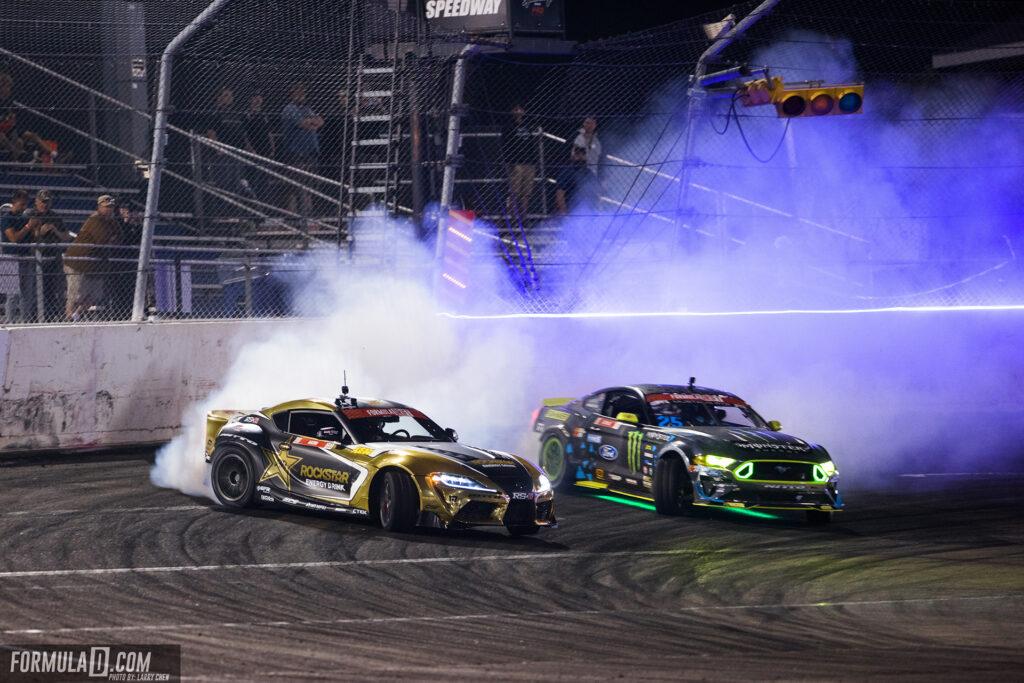 Formula Drift 2021 Round 4. Fredric Aasbo vs Vaughn Gittin Jr. Photo by Larry Chen