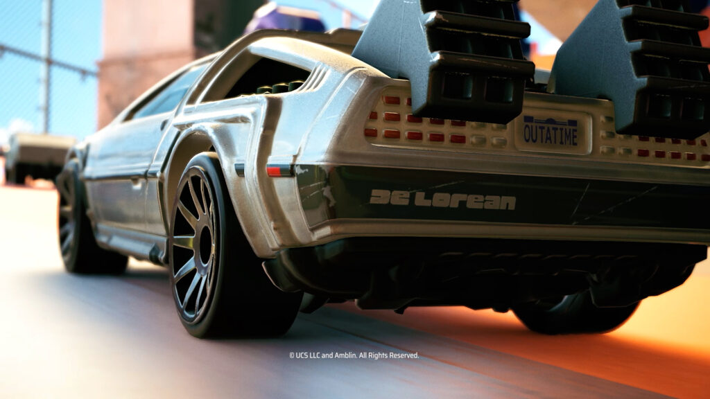 Hot Wheels Unleashed gameplay screenshot with the DeLorean from Back To The Future