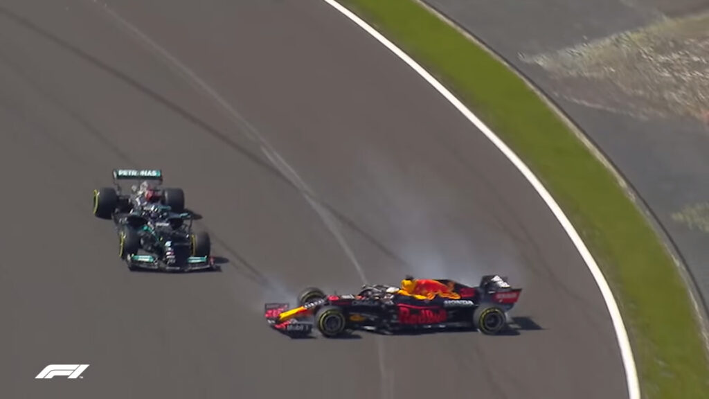 Lewis Hamilton and Max Verstappen crash into each other at the British GP.