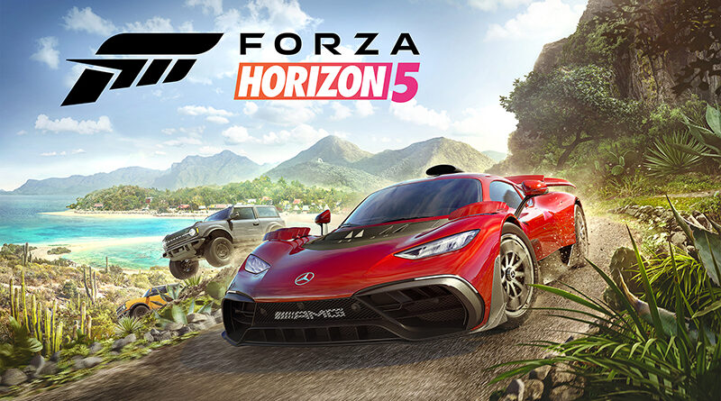 Forza Horizon 5 cover art featuring Mercedes-AMG Project ONE and Ford Bronco Badlands